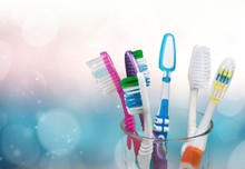 New Colorful Toothbrushes In A...