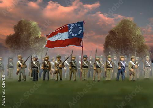 Fotografie, Obraz  Confederate Soldiers. US Civil War 1860's
