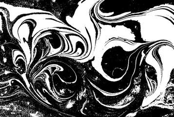 Black and white liquid text...