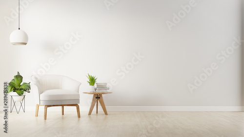Pinturas sobre lienzo  The interior has a armchair on empty white wall background,3D rendering