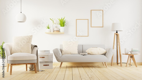 Interior poster mock up living room with colorful white sofa Canvas-taulu