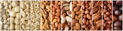 Fotografía  collage of peeled nuts and seeds, top view