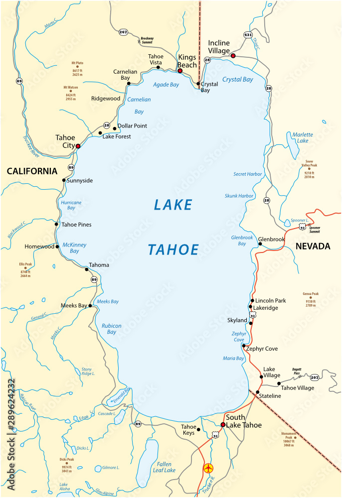 Fototapety, obrazy: Map of Lake Tahoe, located between the US states of California and Nevada