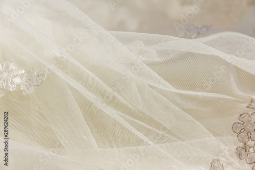 Details of the bride dress fabric and beautiful embroidery wedding concept used Wallpaper Mural