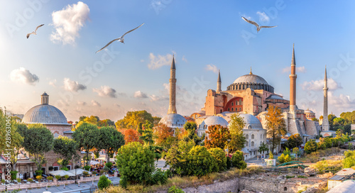 Foto auf AluDibond Cappuccino Beautiful view on Hagia Sophia in Istanbul, Turkey