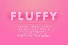 Alphabet Is Made Of Fur Texture. Fluffy Pink Fur Texture Font For Poster Branding