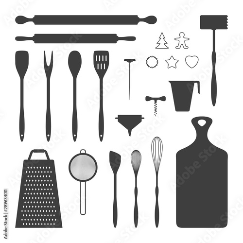 Vector illustration of kitchen utensil silhouettes collection Wallpaper Mural