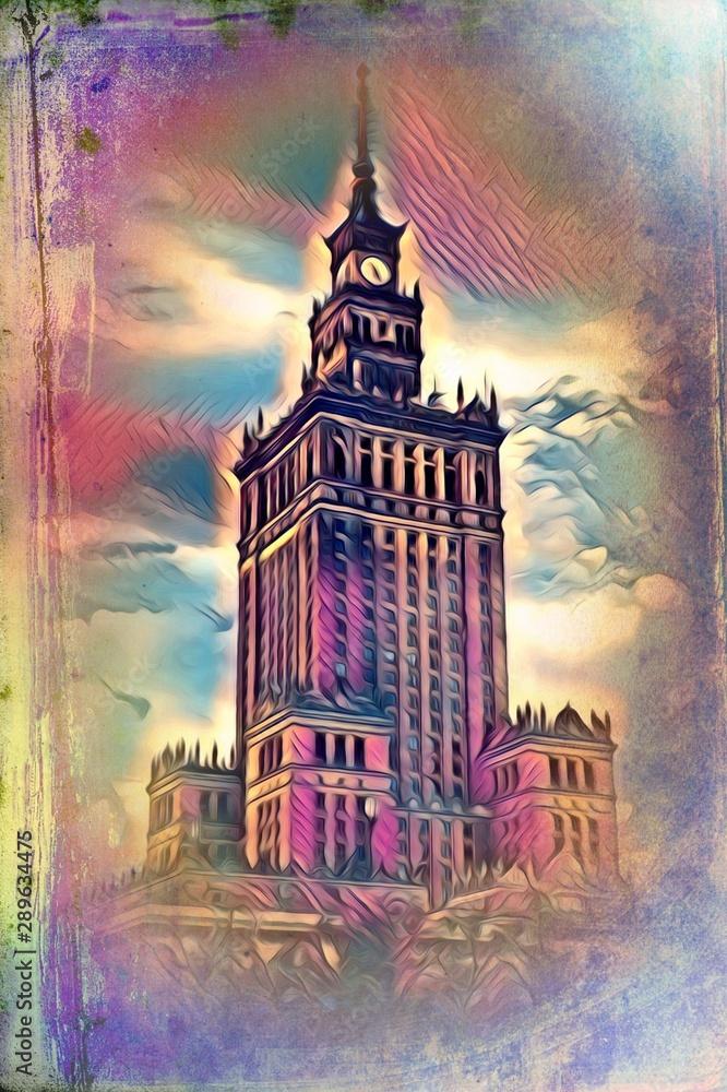 Fototapety, obrazy: Warsaw cityscape exterior art painting illustration