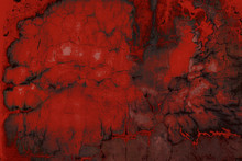Blood Texture Or Background. Concrete Wall With Bloody Red Stains For Halloween