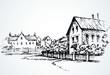 Cozy rural house. Vector sketch