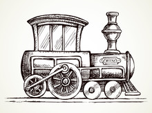 Old Toy Locomotive. Vector Drawing