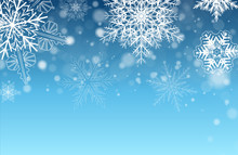 Christmas Background With Snowflakes Winter Blue