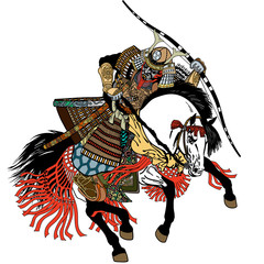 Fototapeta Japoński Japanese samurai horse rider dressed in full leather armor, helmet and war mask. East Asia archer horseman holding a bow. Medieval Asian warrior sitting on horseback and riding pony in the gallop