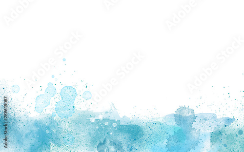 Blue Paint Watercolor border isolated on white