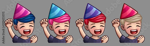 Photo Emotion icons happy party man for social networks and stickers