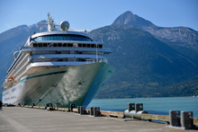 Cruise Ship Docked In Alaska, Port Of Skagway, On A Summers Day.