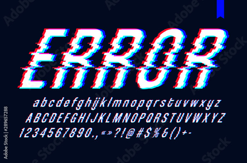 Fototapeta  Vector font with glitch effect, Digital distorted stylized tv bug letters and nu