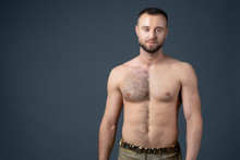 Hairy Male Chest Shaved On One Half. Unshaven Man's Body. The Man Shaves His Belly And Breasts.