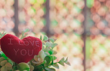"""Red Hearts """"I LLove You"""" With Beautiful Blurred Background"""