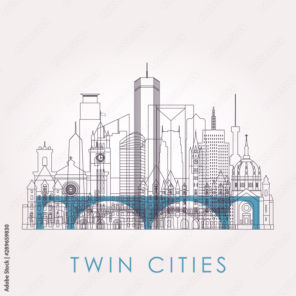 Fototapety, obrazy: Outline Twin cities skyline with landmarks. Vector illustration. Business travel and tourism concept with historic buildings. Image for presentation, banner, placard and web site.
