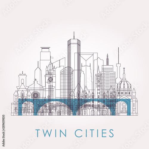 Cuadros en Lienzo  Outline Twin cities skyline with landmarks