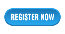 Register Now Button. Register Now Rounded Blue Sign. Register Now