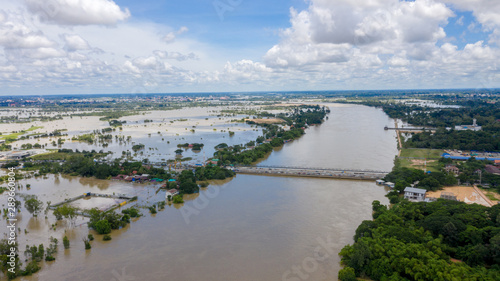 Photo Aerial view of major floods Caused by river overflowing  Resulting in the northe