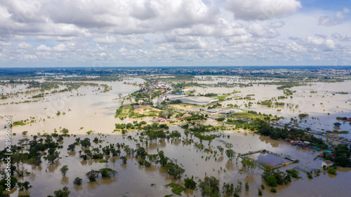 Foto auf Gartenposter Tunesien Aerial view of major floods Caused by river overflowing Resulting in the northeast region Of Thailand adjacent to the Mun River Affected There is Ubon Ratchathani Province, Sisaket on September 14, 2
