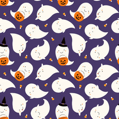 Hand drawn seamless vector pattern with cute ghosts, pumpkins, corn candy, on a violet background. Kawaii style flat design. Concept Halloween textile print, wallpaper, wrapping paper, holiday decor.