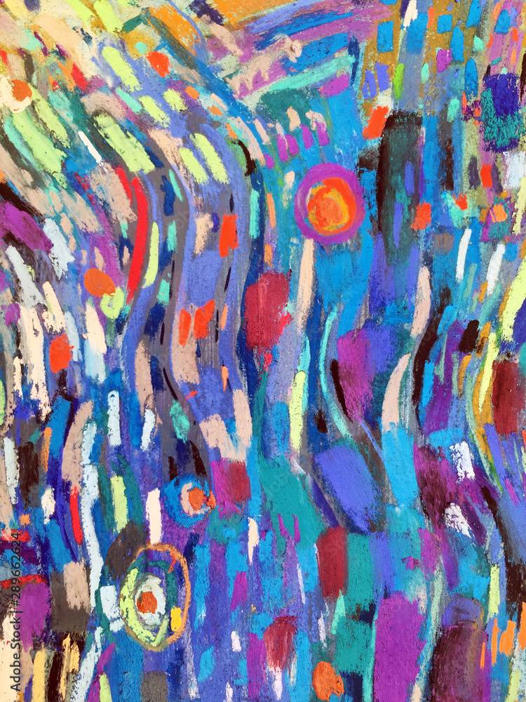 Fototapeta Abstract expressionism style with light clouds, blue sky. Modern textures with multicolored dots, vivid spots, impressionistic strokes. Artistic vibrant background nonskid paint. Naive backdrop