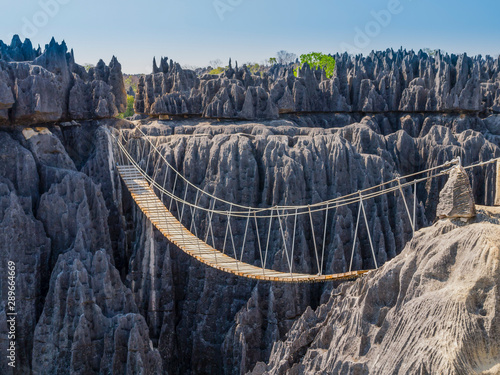 Valokuvatapetti Impressive hanging bridge over the canyon at Tsingy de Bemaraha National Park, M