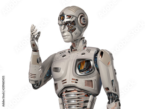 Very detailed futuristic cyborg or humanoid looking at his
