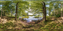 Full Seamless Spherical Hdri Panorama 360 Degrees Angle View On Pedestrian Walking Path Among The Bushes Of Forest Near River Or Lake In Equirectangular Projection, Ready VR AR Virtual Reality Content