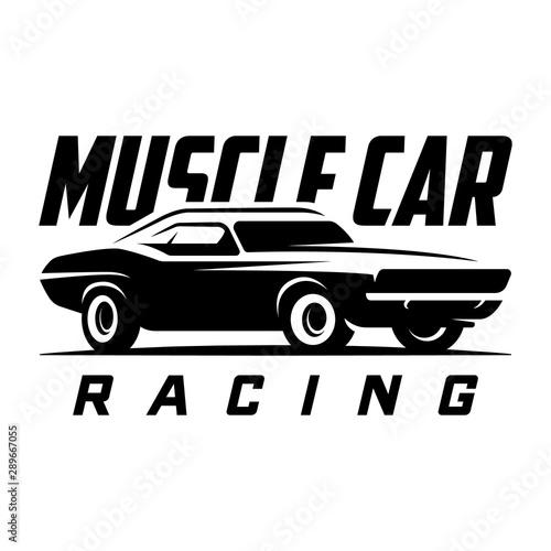 Fototapeta Muscle car retro emblem, logo, banner. Vintage t-shirt print
