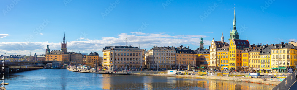 Photo  Panoram view of Stockholm skyline with view of Gamla Stan in Stockholm, Sweden