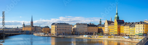 Panoram view of Stockholm skyline with view of Gamla Stan in Stockholm, Sweden Wallpaper Mural