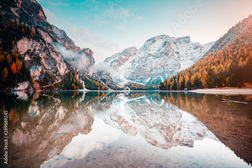 Montage in der Fensternische Cappuccino Scenic image of alpine lake Braies (Pragser Wildsee). Location place Dolomiti, national park Fanes-Sennes-Braies, Italy, Europe.