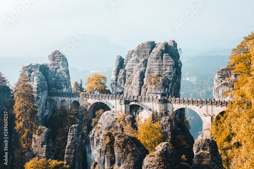 Scenic image of Elbe Sandstone Mountains. Location Saxony Switzerland national park, East Germany, Europe.