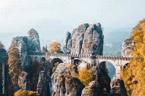 Fotografía  Scenic image of Elbe Sandstone Mountains