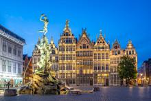 Grote Markt Of Antwerp At Nigh...