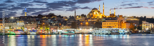 Panorama view of Istanbul port in Istanbul city, Turkey Wallpaper Mural