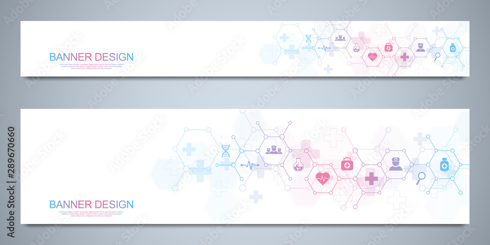 Fototapeta Banners design template for healthcare and medical decoration with flat icons and symbols. Science, medicine and innovation technology concept.
