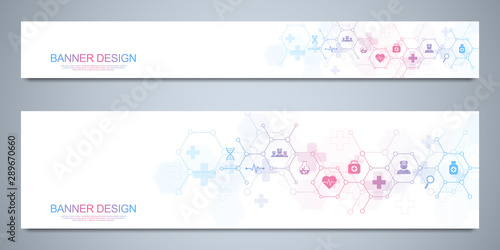 Photo Banners design template for healthcare and medical decoration with flat icons and symbols