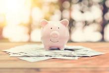 Piggy Bank On Money Bank Note ...
