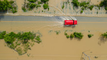 Aerial Top View Of Flooded The...