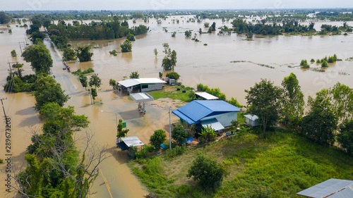 Fototapeta Aerial top view of Flooded rice paddies and the village, View from above shot by drone obraz