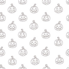 Seamless Pattern With Halloween  Pumpkin Jack In Sketch Style Isolated On White. Festive Texture For Packages, Backgrounds, Web Pages