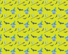 Watercolor Halloween Seamless Pattern. Hand Painted Magic Symbols On Green Background. Cat, Bat, Broom, Owl, Wizard's Hat. Holiday Design.