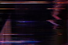 Display Damage. Digital Error. Glowing Lines Effect On Dark Background.