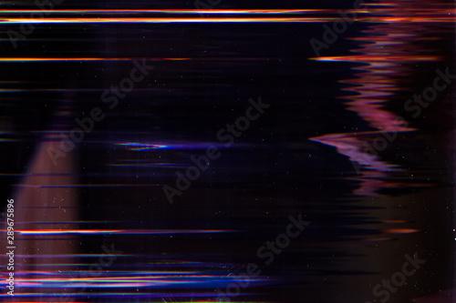 Fototapeta Display damage. Digital error. Glowing lines effect on dark background. obraz